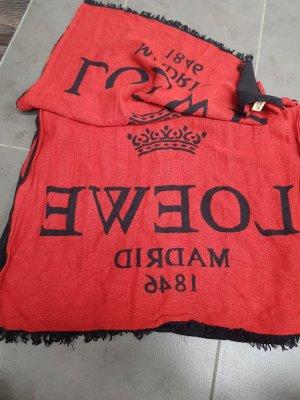 Loewe Bufanda de cachemir negro-rojo