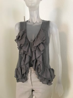 Allude Flounce Top grey cashmere
