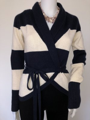 Autumn cashmere Knitted Wrap Cardigan natural white-dark blue