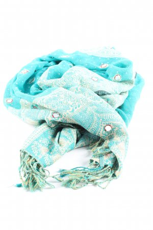 Cashmere Scarf turquoise-white allover print casual look