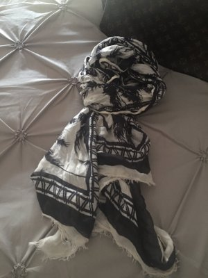 Sciarpa in cashmere nero-bianco