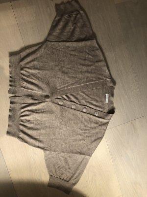 Brunello Cucinelli Cardigan a maniche corte marrone-grigio Cachemire
