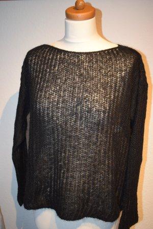 kastiger schwarzer Pullover in Strick von Benetton, leicht transparent Gr. S
