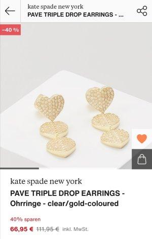 Kate Spade Herzchen Ohrringe in Gold mit kleine Steinchen neuwertig!