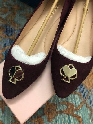 Kate Spade Ballerina's met kant paars-bordeaux Leer