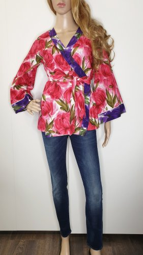 Kate Spade Wickelbluse S floral pink lila Kimono geblümt Blumen Designer