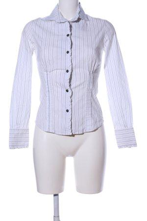 Kathleen Madden Camicia blusa bianco-nero motivo a righe stile casual