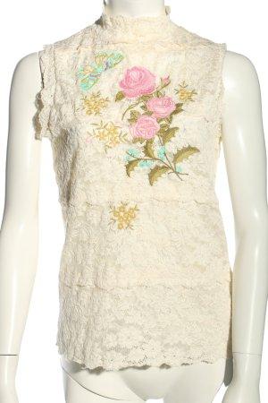 Kathleen Madden Blusa in merletto bianco sporco-rosa motivo floreale