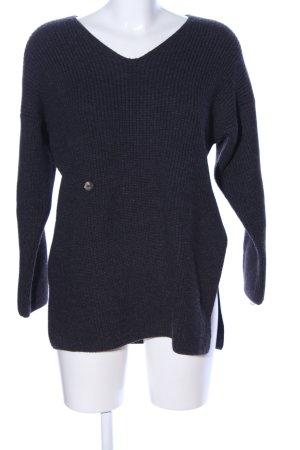 Kathleen Madden V-Ausschnitt-Pullover hellgrau Zopfmuster Casual-Look