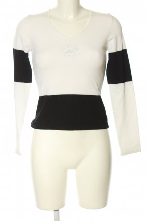Kathleen Madden V-Ausschnitt-Pullover weiß-schwarz Casual-Look