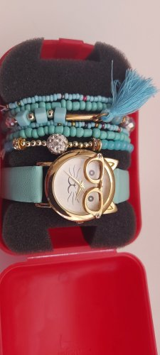 keine Watch With Leather Strap baby blue