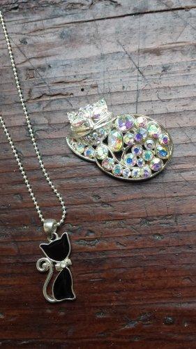 Katzenbrosche mit Kette Cats Necklace Hello Kitty
