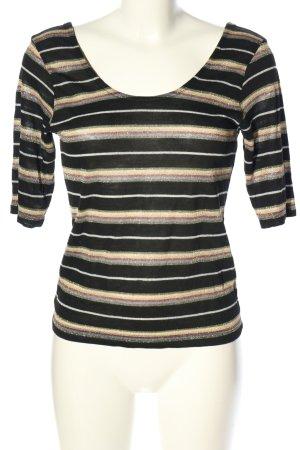 Kauf Dich Glücklich Strickshirt schwarz-creme Streifenmuster Casual-Look