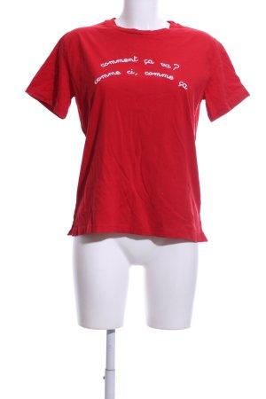 Kauf Dich Glücklich T-Shirt rot-weiß Schriftzug gedruckt Casual-Look