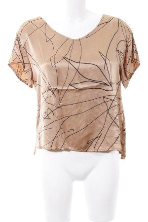 Kauf Dich Glücklich V-Ausschnitt-Shirt braun-schwarz Allover-Druck Casual-Look