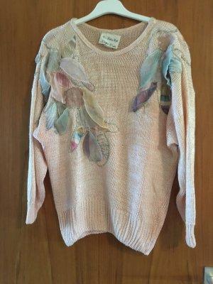 KAUM GETRAGEN - neckischer aprikotfarbener Pullover m. besonderen Verzierungen, Größe 44 - KAUM GETRAGEN
