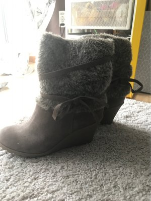 Anna Field Wedge Booties grey brown-light brown