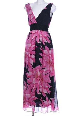 Kavi Midikleid schwarz-pink Blumenmuster Casual-Look