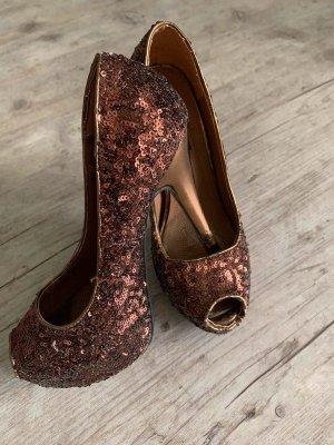Kayla Pumps/HighHeels - Bronze/Glitter - Pailletten - Größe 36