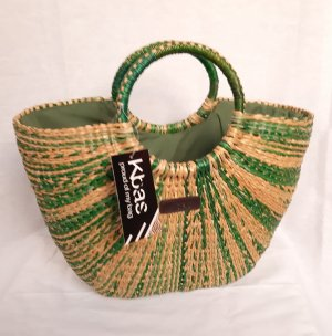 Bolso tipo cesta marrón arena-gris verdoso
