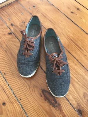 Keds Champion Sneaker Charcoal - anthrazit mit braunen Schnürsenkeln - Größe 37,5