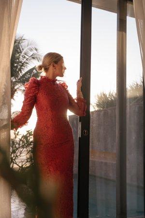Keepsake Abendkleid rot Blumenmuster Elegant