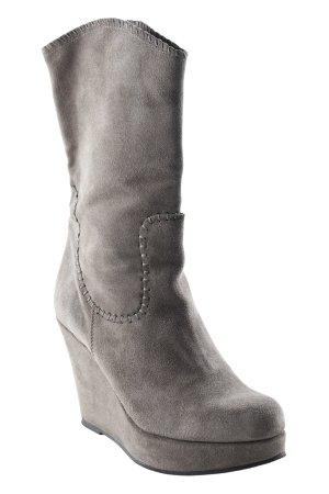 Keil-Stiefeletten graubraun schlichter Stil