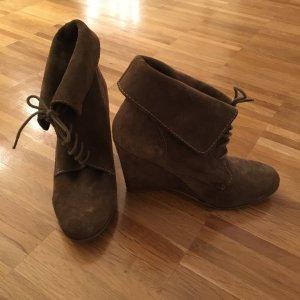 Zara Wedge Booties grey brown