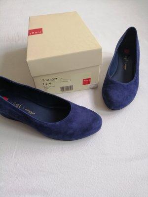 Keilabsatz Högl Schuhe in blauem Samtkid-Leder