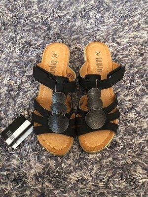CityLine Sandalo con cinturino nero-color cammello