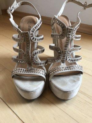 Keilabsatz Sandalen, beige mit Strass