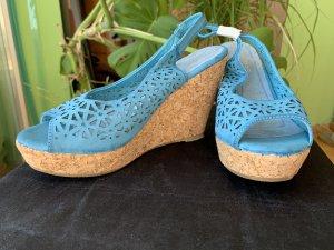 Keilabsatz Sandalen blau türkis