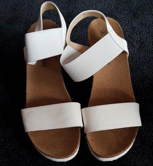 Keilabsatz Sandalen, Gr. 36, weiß, NEU