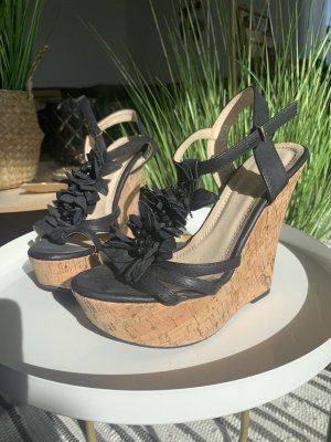 Keilabsatz Sandalen highheels mit korkabsatz schwarz Blumen