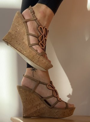 Lola cruz Wedge Sandals rose-gold-coloured-camel