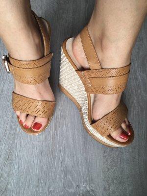 Keilabsatz Sandalen Sandaletten braun Plateau 37