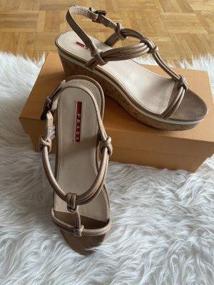 Prada Sandalo con plateau beige-color cammello