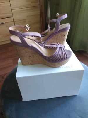 H&M Platform High-Heeled Sandal mauve-beige