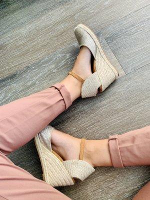 Keilabsatz Sandaletten Gold Bast 37 beige