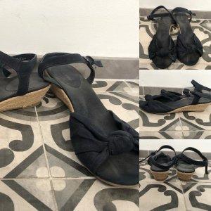 Keilabsatz Sandaletten Sandalen Graceland 41 dunkelbau velours