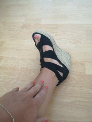 Keilabsatz Sandaletten Sommer schwarz 38
