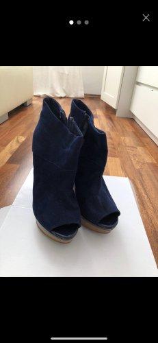 Bershka Platform Sandals dark blue-camel