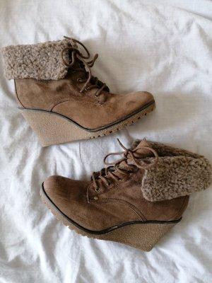 Wedge Booties light brown-brown