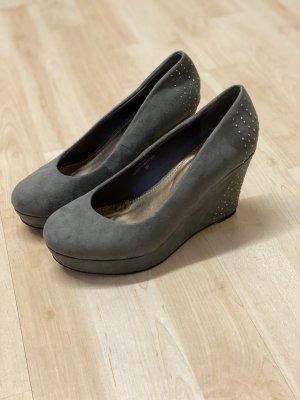 Keilabsatz Schuhe high heels 36 grau