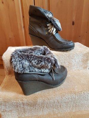 Street Super Shoes Bottine à talon compensé gris brun