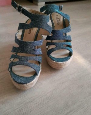 s.Oliver Strappy Ballerinas neon blue