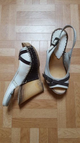 Carlo Pera Wedge Sandals white-dark brown
