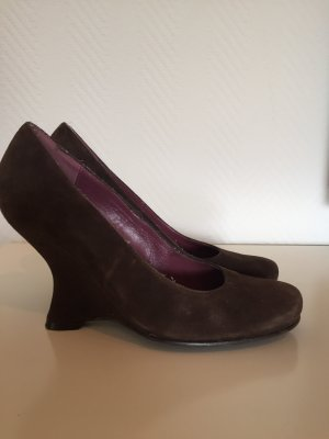 Pedro Miralles Wedge Pumps dark brown leather