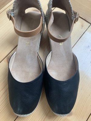 Unisa Espadrille sandalen zwart-lichtbruin
