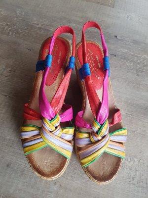 Andrea Conti Sandalias tipo cuña multicolor Cuero